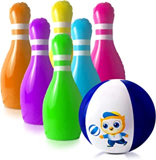 GoSlaz Inflatable Bowling Pins Jumbo Set - Giant Outdoor Lawn Bowling Play Set for Kids - Back Yard Large Plastic Bowling Game Play Set - Indoor Party Games for Family - Backyard Toys for Toddlers