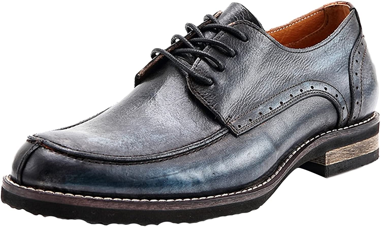 ICEGREY Men Leather Oxford shoes Lace up Slip on Brogue shoes bluee 45