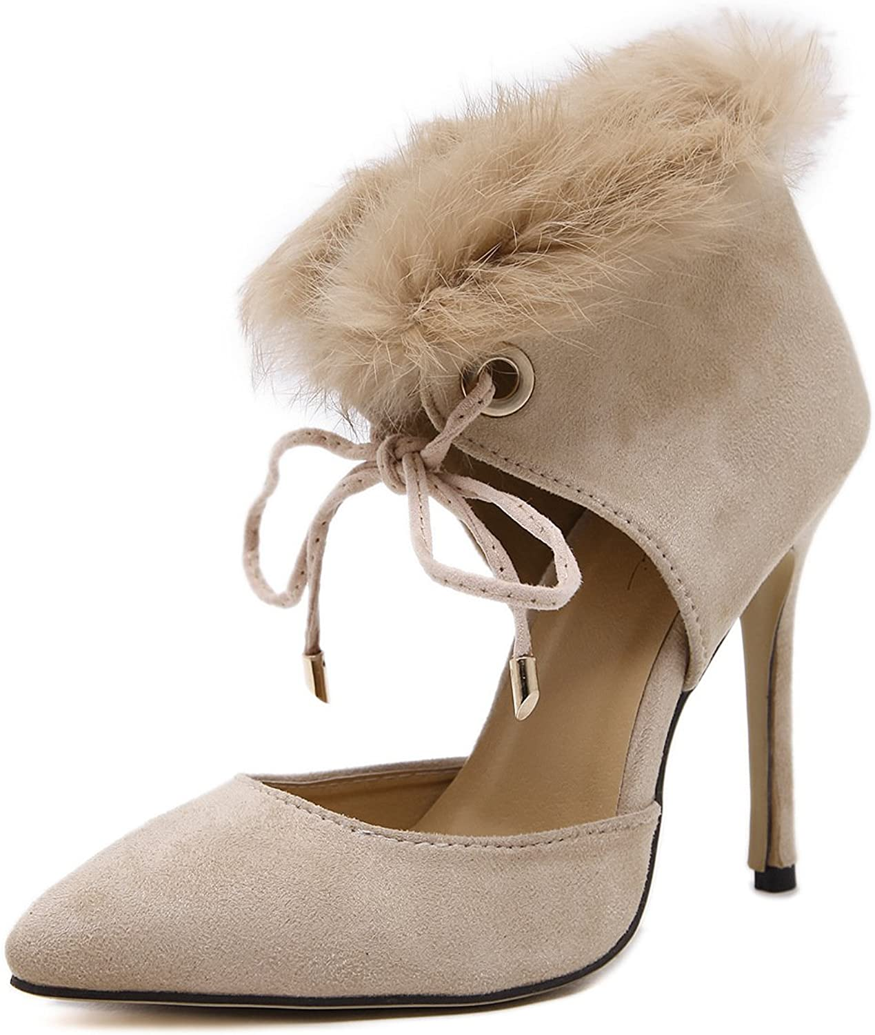 shoesmaker's heart 2017 New Super Sexy High-Heeled shoes Really Plush High shoes Beige Female Club