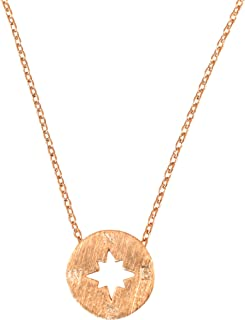 Dainty Compass Necklace for Women Nautical Boat Pendant Compass Jewelry 17 in Chain - Multiple Colors