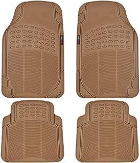 Motor Trend MT754BGAMw1 FlexTough Heavy Duty Car Floor Mats - 4 PC 100% Odorless & All Weatherproof (Beige)