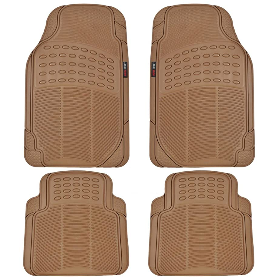 MotorTrend MT-754-BG Universal Fit Odorless Premium Heavy Duty All Weather Maximum Protection Car Floor Mat - Rubber (Beige) 4 Pack