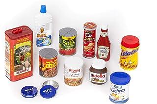 Casa De Muñecas En Miniatura De Armario de Cocina paquetes de alimentos comestibles rellenos LATAS LATAS