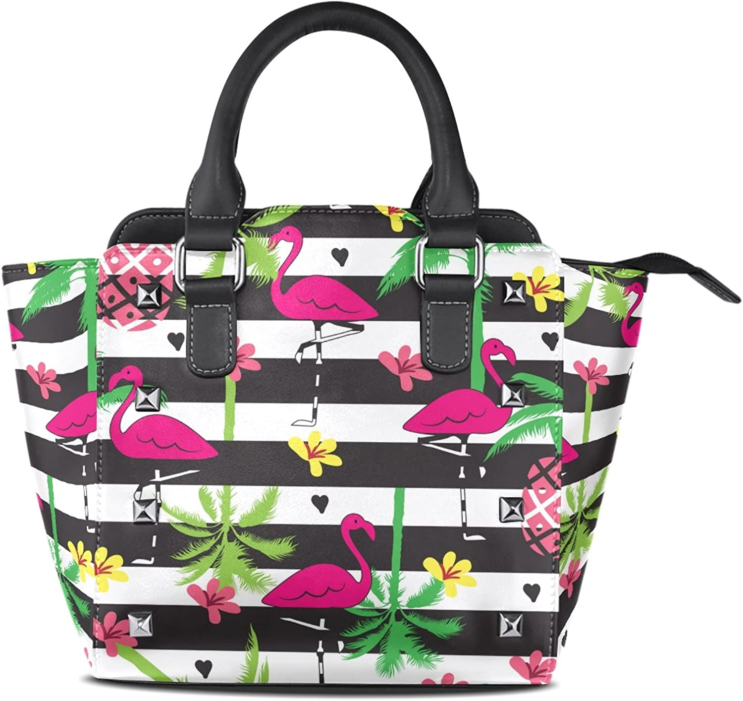 My Little Nest Women's Top Handle Satchel Handbag Summer Tropical Flamingo Palm Tree Flower Pineapple Ladies PU Leather Shoulder Bag Crossbody Bag