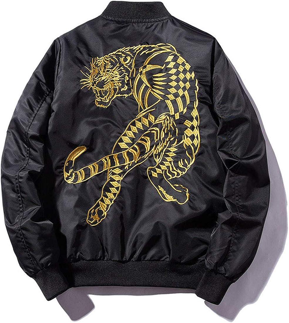 ebossy Men's Embroidered Bomber Jacket Zip Up Lightweight Sports Baseball Flight Jacket Windbreaker