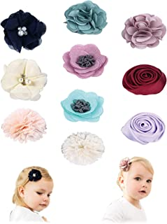 Girls Hair Bows flowers Clips Barrettes,Lined Alligator Hair Accessories for Baby Infant Toddler Kids Teens by Fancy Clouds Pack of 10