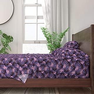 Roostery Sheet Set, Botanical Banana Leaf Jungle Preppy Leaves Chinoiserie Decor Plants Pink Floral Hollywood Regency Print, 100% Itallian Cotton Sateen Sheet Set, King
