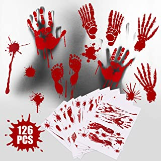 Vatos 126pcs Halloween Stickers Packs, Horror Bloody Footprints for Wall, Stairs, Windows, Bathtubs, Bedroom, Living Room ...