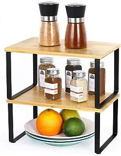 LIANTRAL Étagère en bambou dans une armoire de cuisine - Organiseur extensible empilable dans un placard - Solution de ran...