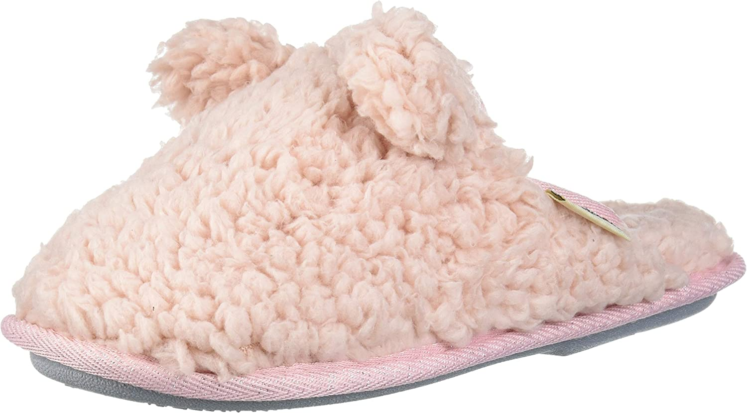 Dearfoams Unisex-Baby Kids Toddlers faux sherpa Scuff with Ears Slipper, Dusty Pink, 11-12 Toddler Medium US Toddler