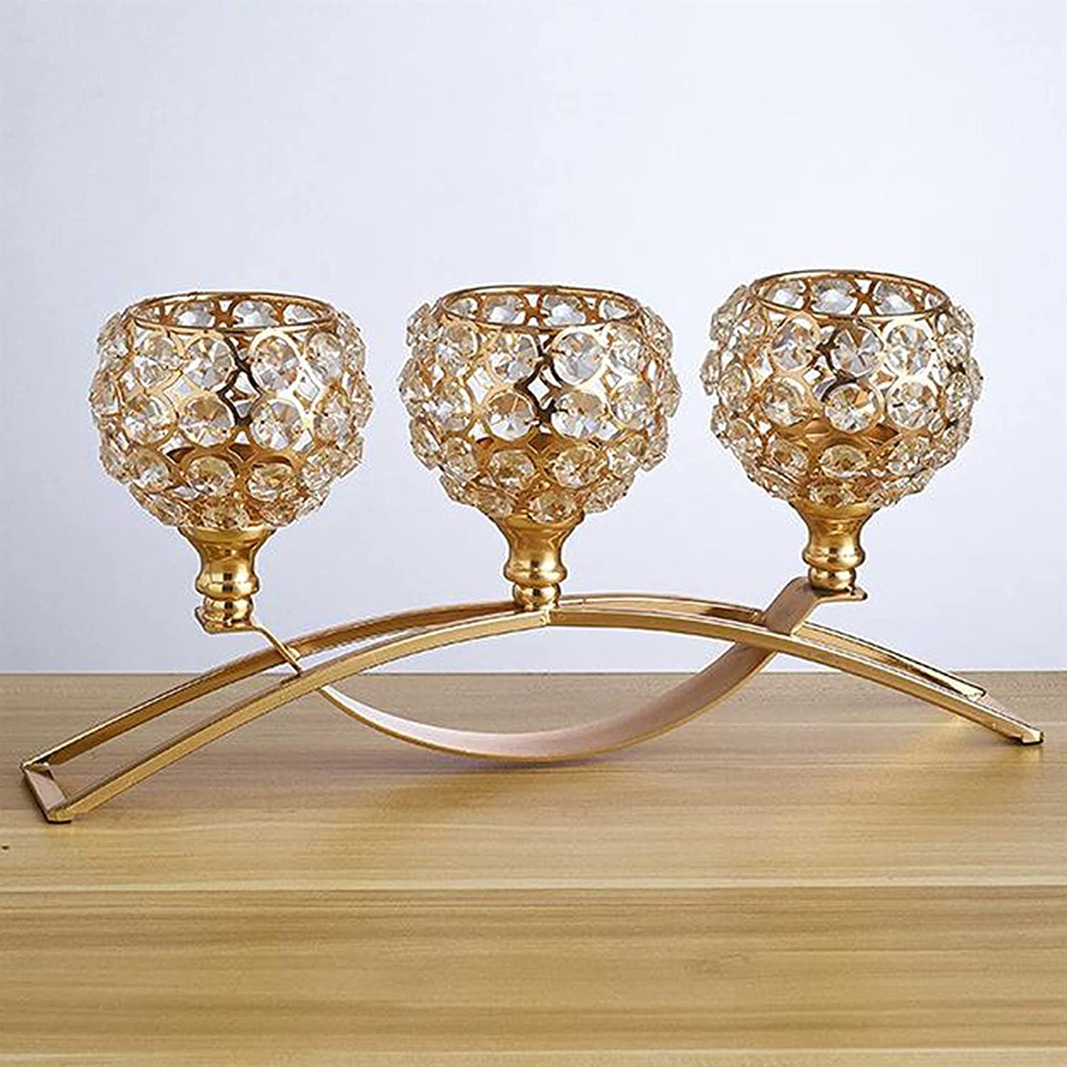 Fort Worth Mall GLADMIN 3 Crystal Arch Bridge Holders Bowl Candle Tealigh Goblet overseas