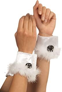 Costume Bunny Cuffs With Marabou Trim