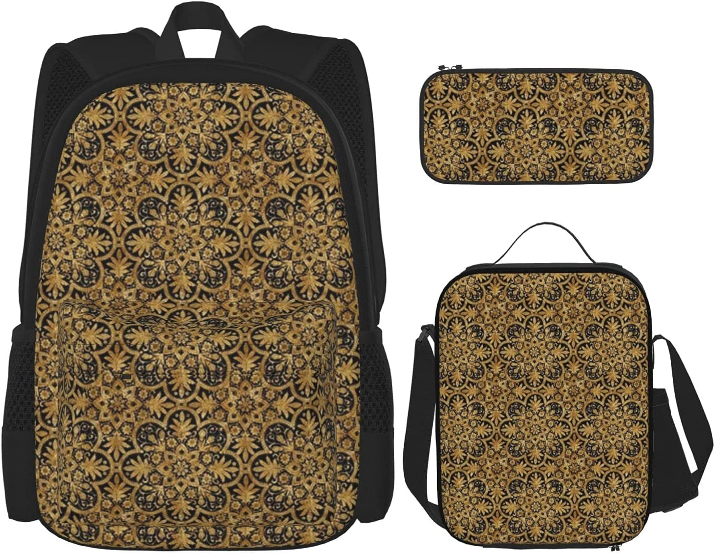 Backpack Bags Bourgogne Manufacturer 4 years warranty regenerated product Tile Gilt Lunch with Bag Black Gold