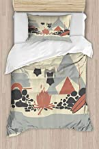 prunushome Duvet Cover Set 2 Pieces, Tent Van and Fire Beach 100% Cotton Super Soft Bedding Set, Full - 80