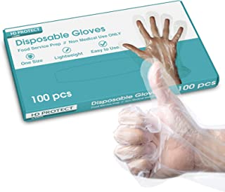 100 Pack Disposable Plastic Gloves - Food Prep Gloves Bulk Disposable Gloves Transparent Plastic Gloves for Food Service, ...