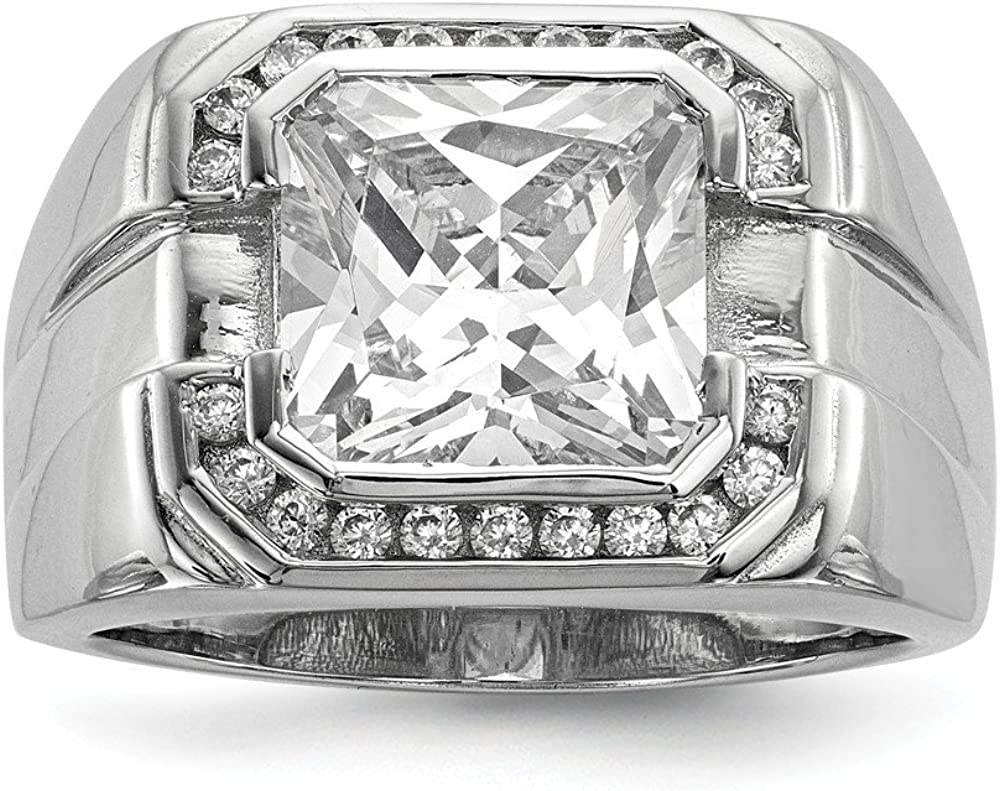 925 Sterling Silver Mens Cubic Zirconia Import Cz Man Band SEAL limited product Ring Fine Je
