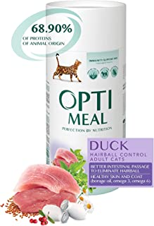 OPtimeal Hairball Control - Duck, Dry Cat Food for Adult Cats, Travel Pack 1.4 lb (Pack of 2)