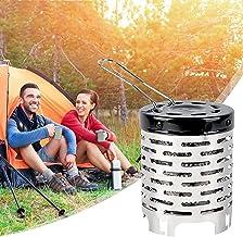 Wsjfc Estufa de Camping de Acero Inoxidable, Cubierta de calefacción de Mini Estufa de Calentamiento portátil con Mango Anti escaldado, para mochileros al Aire Libre, Senderismo