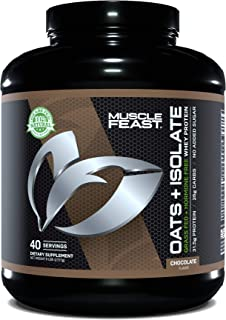 MUSCLE FEAST Oats + Isolate, Gluten Free Whole Oat Powder, Grass Fed Hormone Free Isolate, Natural, Kosher Certified, 31.5...