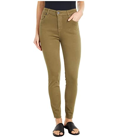 KUT from the Kloth Donna High-Rise Ankle Skinny with Raw Hem in Olive (Olive) Women