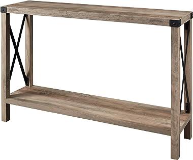 Walker Edison Sedalia Modern Farmhouse Metal X Entry Table, 46 Inch, Grey