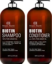 BOTANIC HEARTH Biotin Shampoo and Conditioner Set - with Ginger Oil & Keratin for Hair Loss and Thinning Hair - Fights Hair Loss, Sulfate Free, for Men and Women, (Packaging May Vary),16 fl oz x 2