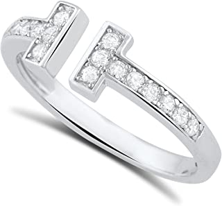 Sterling Silver Cz Open Double Bar Ring - Size 6