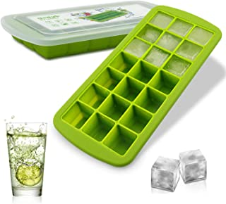 Silicone Ice Cube Mold Trays BPA Free - 21 Ice Trays with Removable Lid Food Grade Ice Mold Freezer Tray for Whiskey, Bour...