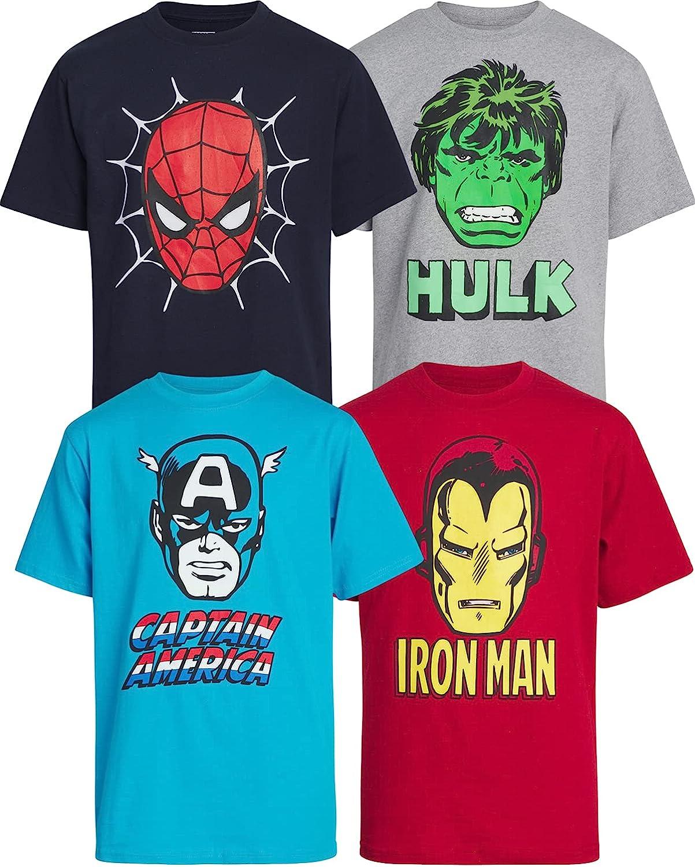 Marvel Boys' Avengers Superhero 4 Pack Graphic T-Shirts: (Toddler/Little/Big Boys)