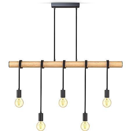 B.K.Licht suspension pour 5 ampoules, métal et bois, 5 douilles E27, noir mat, lampe à suspension vintage rétro, livré sans ampoules