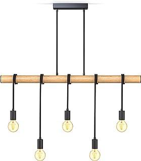 B.K.Licht 5 llama lámpara colgante I metal y madera I E27 I negro mate I lámpara colgante vintage I lámpara colgante retro I sin bombilla