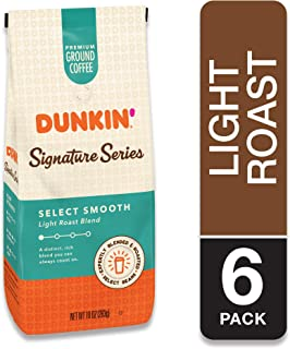 Dunkin' Donuts Signature Series Select Smooth Light Roast Blend Ground Coffee, 10 Ounces (Pack of 6)