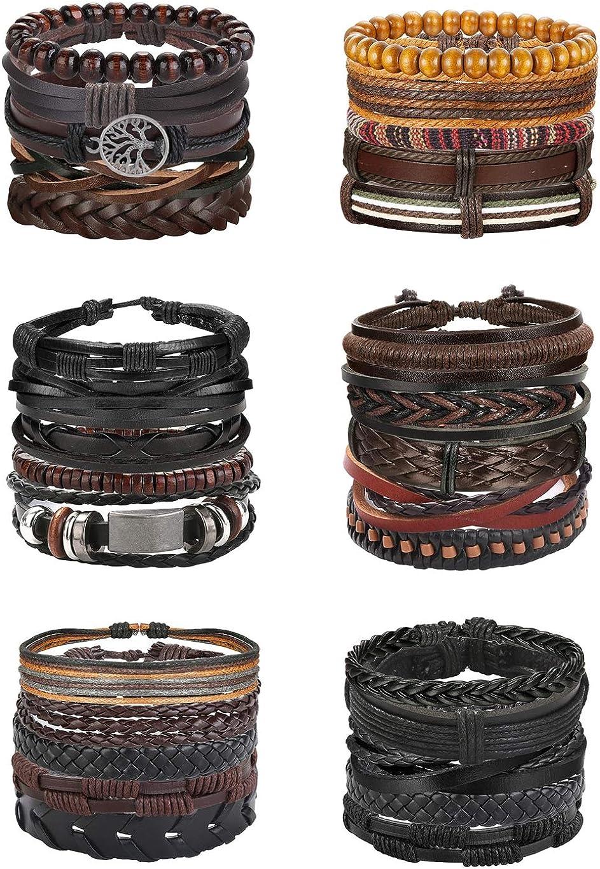 Florideco 30PCS Braided Leather Bracelets for Men Women Wrap Woo