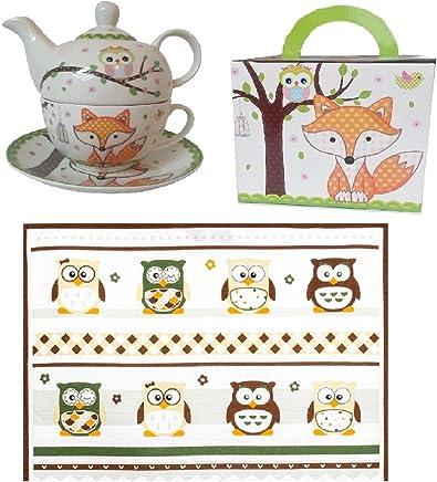 """Preisvergleich für Tea for One """"Eule und Fuchs"""" Teekanne + Tasse + EXTRA ZUGABE Geschirrtuch Eule"""