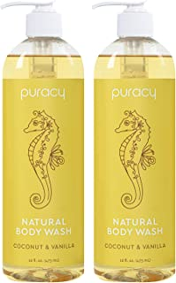 Puracy Natural Shower Gel, Coconut & Vanilla, Skin Hydrating and Softening Body Wash, 16 Ounce (2-Pack)