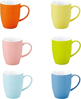Panbado 6 x Tazas de Cerámica de 6 Colores Juego de Tazas de Porcelana de Café/Té Vasos de Agua/Leche para Hogar, Fiesta, Oficina, 370 ml (12,5 * 8,6 * 11 cm), Regalo para Cumpleaños, Festival