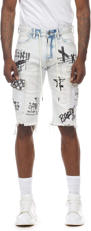 Smoke Rise Men's Fashion Stretch Denim Shorts and Twill Cargo Shorts with Graffiti