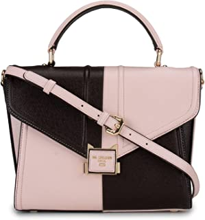 Women's Pink and Burgundy Leather Satchel