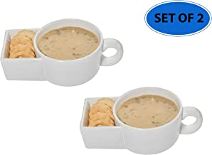 Home-X Set of 2 Soup and Crackers Ceramic Mug Bowl | Cookies and Milk, Veggie Snack & Dip Cup