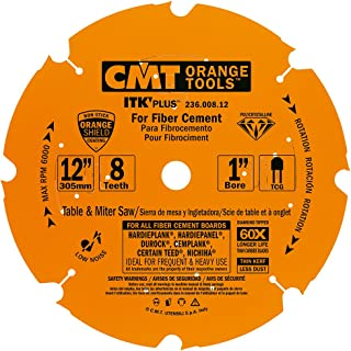 CMT 236.008.12 ITK PLUS Diamond Saw Blade for Fiber Cement Products, 12-Inch x 8 Trapezoidal Teeth with 1-Inch Bore, PTFE Coating