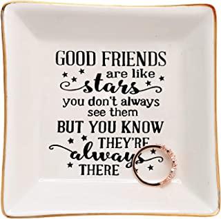HOME SMILE Good Friends Bestie Gifts Ring Trinket Dish-Good Friends are Like Stars - You Don't Always See Them But You Know They're Always There
