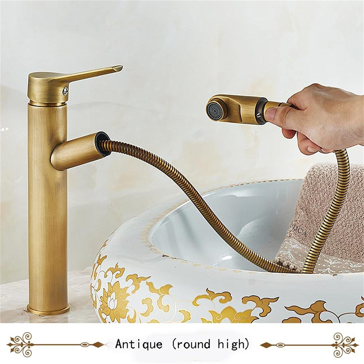 TOYM UK Full Copper European Style Shower Faucet Basin Hot And Cold Water Faucet ( color   Antique (round high) )