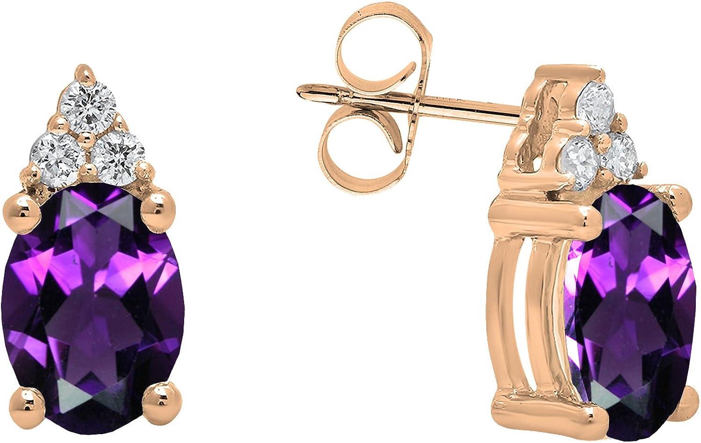Dazzlingrock Collection 10K 7X5 MM Oval Gemstone & Round White Diamond Ladies Stud Earrings, Rose Gold