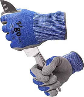 Vgo 10Pairs ANSI Level 3 Cut Resistant Gloves Certified Hand Protection, Latex Rubber Coated Gardening and Work Gloves(Size M,Blue,RB2148HY)