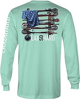 LAX SO HARD Mens Lacrosse Stick American Flag Mint Long Sleeve T-Shirt