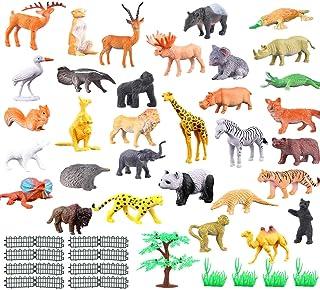0144713f4406 JZK Set de 53 Piezas Mini Juguetes Animales Selva plástica para niños Animales  Salvajes Juguete Figuras