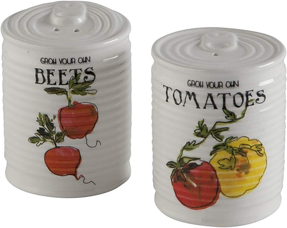 Tag Salt And Pepper Shakers Ceramic Earthenware Veggie Beets Tomatoes Garden Farmhouse Kitchen Can White Set Of 2