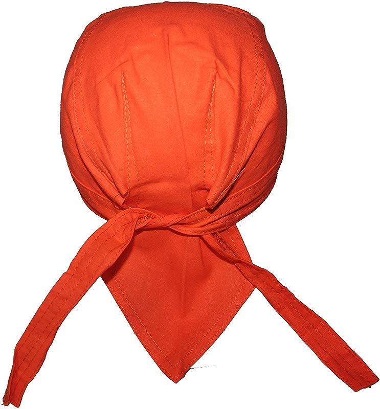 Set Of 4 Lined Orange Food Service Skull Cap Head Wrap Do Rag Chef Cook Medical Field