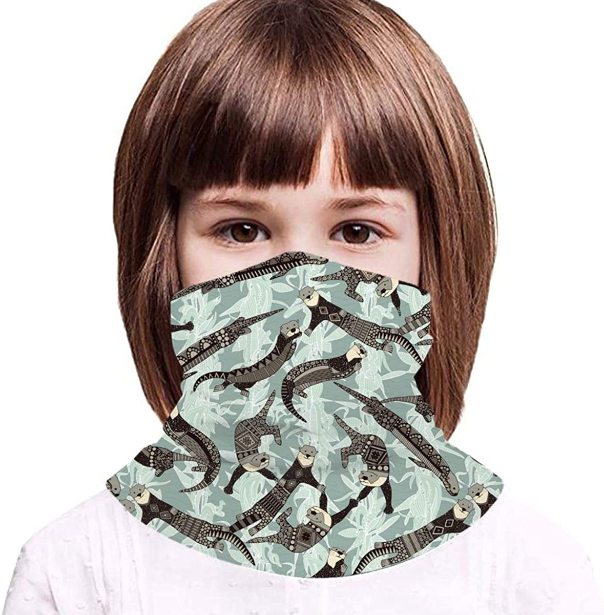 Sea Otters Kids Face Mask Dust Sun UV Protection Neck Gaiter Balaclava Face Cover Scarf Summer Breathable for Cycling Fishing Outdoors