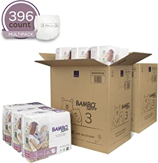 Bambo Nature Eco Friendly Premium Baby Diapers for Sensitive Skin, Size 3 (9-20 lbs), 396 Count (2 Cases of 198)